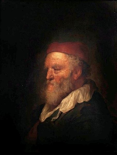 Portrait of an old man in a red hat