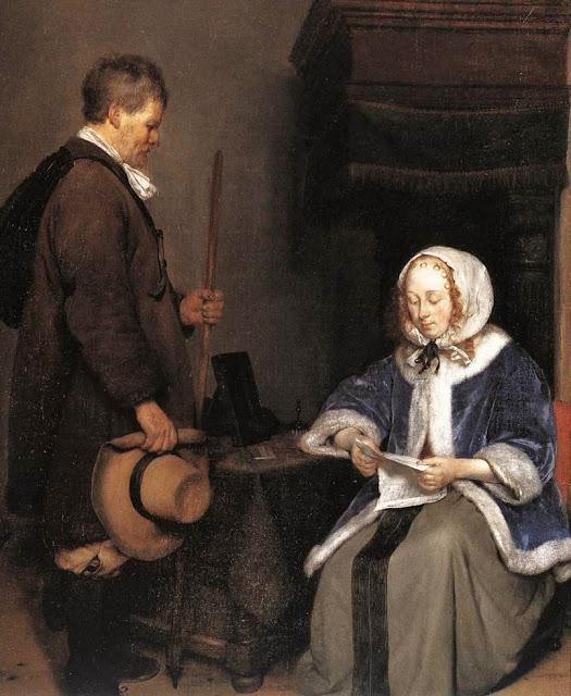 5l Gerard Terborch (Dutch Baroque Era Painter, 1617-1681)  Lady Reading a Letter